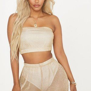 PLT SHAPE GOLD SHEER KNITTED BANDEAU CROP TOP